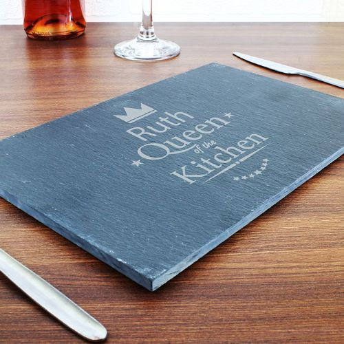 Personalised Queen of the Kitchen Slate Cheeseboard